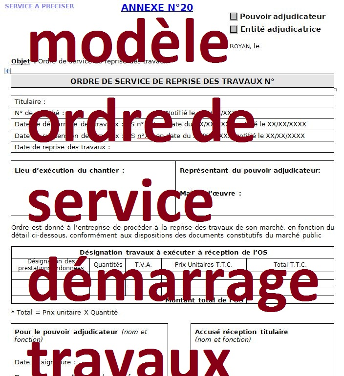 Connu 2 modèles ordre de service démarrage travaux - doc | Outils  HT22