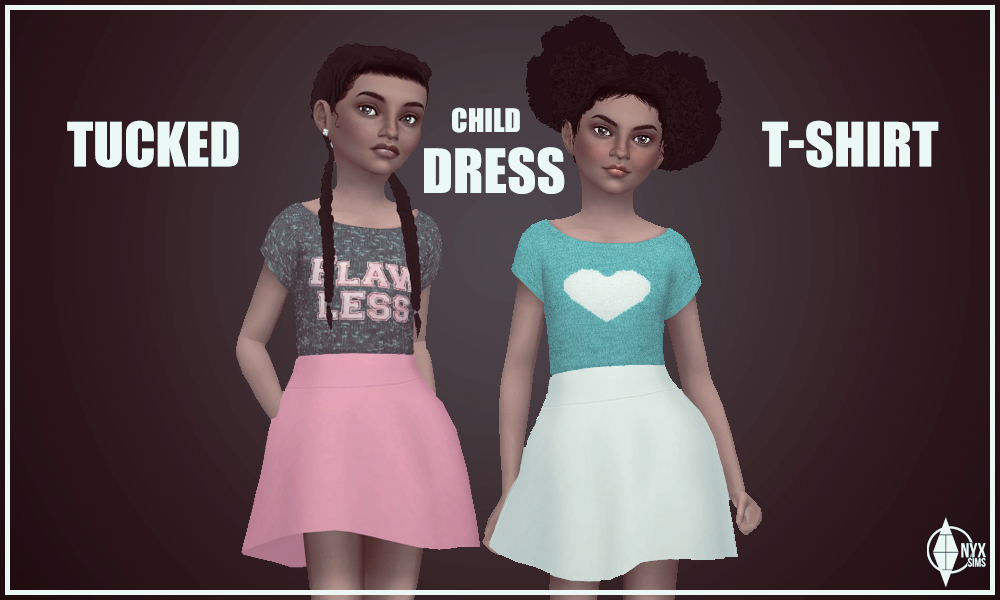 Tucked T Shirt Dress Onyx Sims