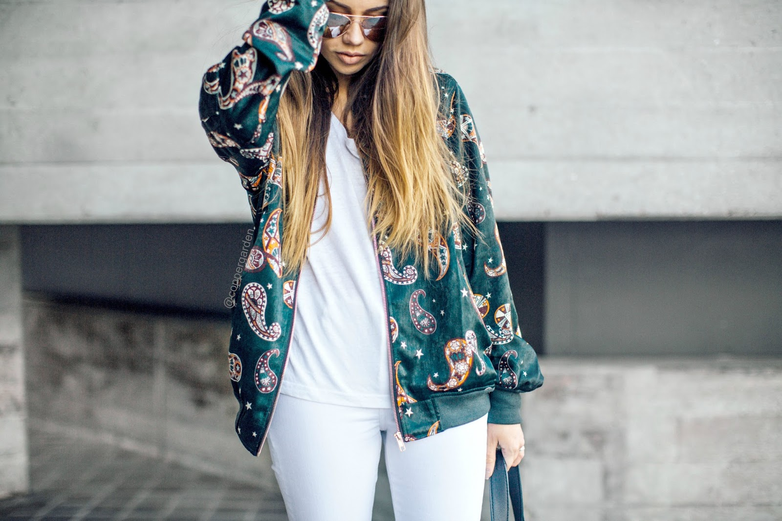 copper garden, fashion and lifestyle blogger, public desire lace up suede heels, paisley printed bomber jacket, festival style, summer 2016 outfit ideas, all white outfits,  outfit post