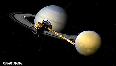 NASA's Cassini spacecraft, Saturn, and Titan