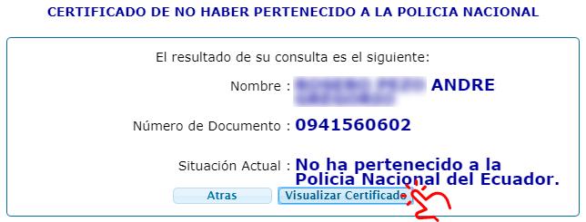 visualizar certificado no pertenecer a la policia