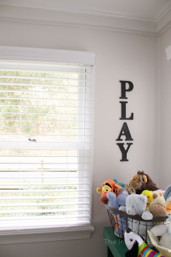 Cute and easy wall art idea for playroom decor.