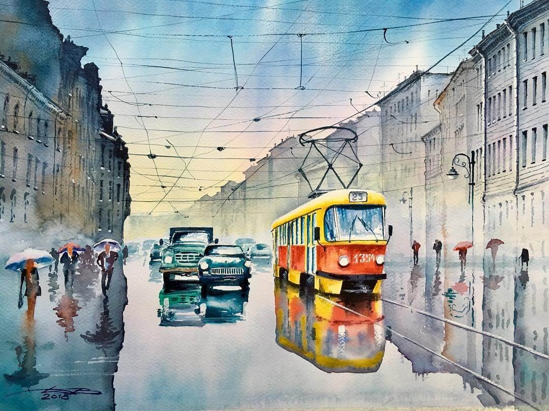 09-Saint-Petersburg-Igor-Dubovoy-Realistic-Urban-Watercolor-Paintings-www-designstack-co