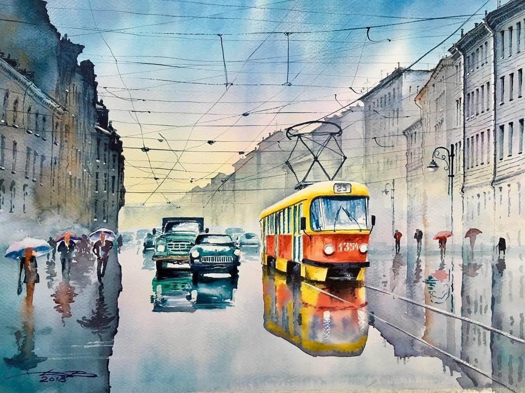 09-Saint-Petersburg-Igor-Dubovoy-Realistic-Urban-Watercolor-Paintings-www-designstack-co