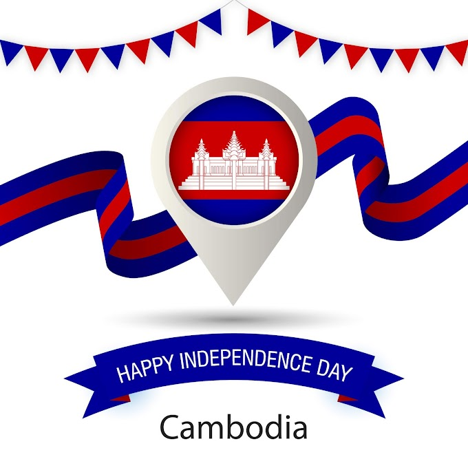 Cambodia Independence Day With Stylized Country Flag Pin Illustration free vector