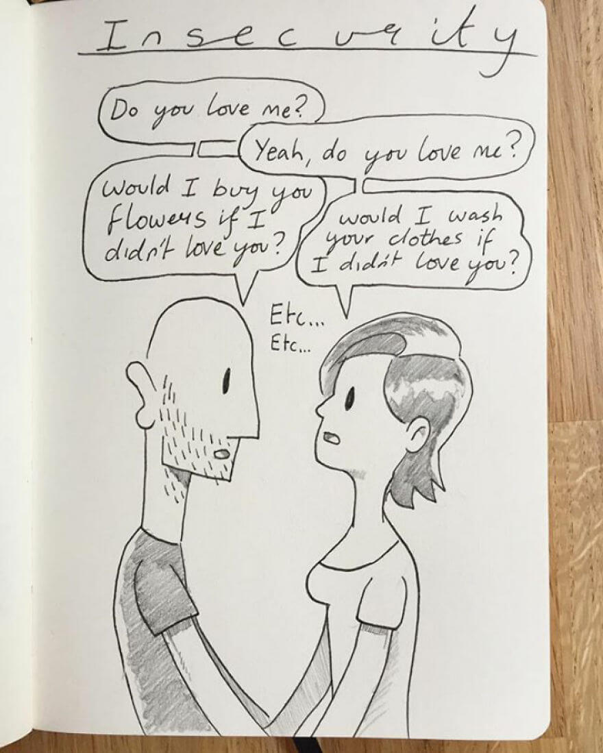 Guy Has Been Drawing A Comic Every Day For His Partner For Five Whole Years - Kellie And I Are Both Ridiculously Insecure People