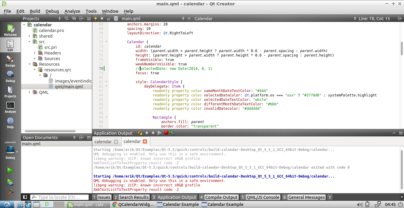 Qteveloper: Chage Qt5 Example of Calendar to set today