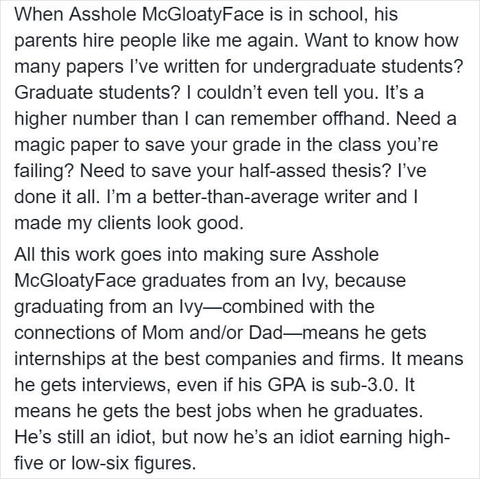 Woman Shares Eye-Opening Post About Rich People Buying Her Writing Services