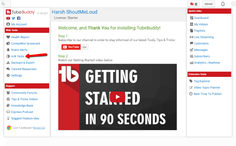 A/B testing feature of tubebuddy