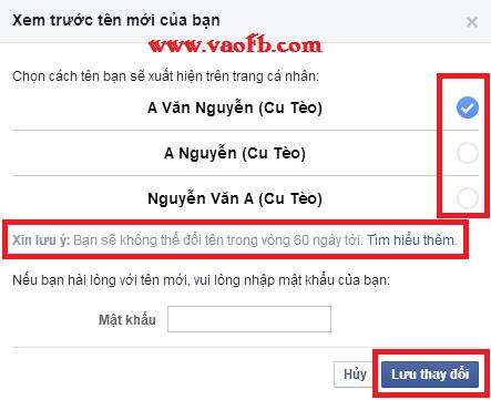 Xem trươc tên Facebook sau khi đổi