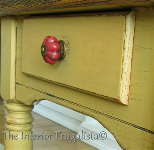 Oak chalk painted side table with antiqued red knob.