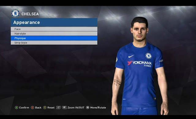 Alvaro Morata Face + Tattoo PES 2017