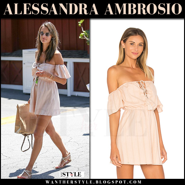 Alessandra Ambrosio in light pink off shoulder dress ale by alessandra gabriela what she wore july 26 2017 streetstyle