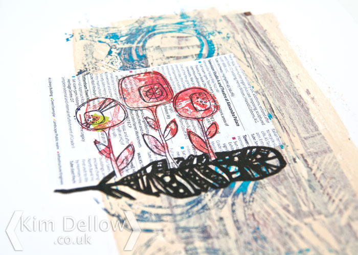 close up of a mixed media piece by Kim Dellow using products from StencilGirl and PaperArtsy