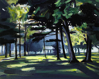 An acrylic painting of krull park on Lake Ontario,