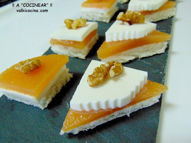 Aperitivos rápidos de queso fresco y dulce de membrillo