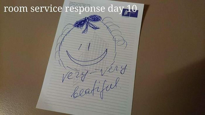 Bored Business Traveler 'Challenges' His Housekeeper In A Funny And Creative Way - The man clearly made the housekeeper's day