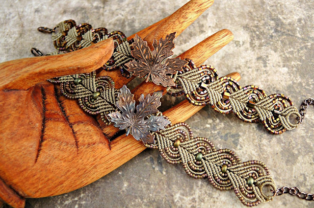 Micro macrame bracelets from Knot Just Macrame with leaf focals.