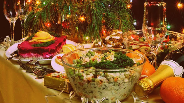 recipe of russian salad in english, new year russian dishes