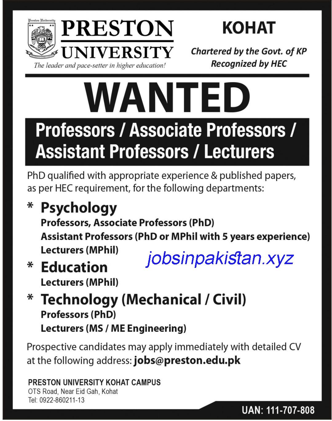 Advertisement for Preston University Jobs 2018