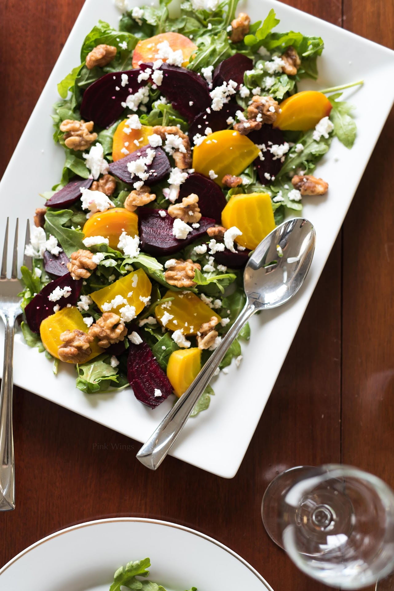 beet salad recipe, beet recipe, colorful salad, goat cheese recipe, best salad recipes, summer salad, salad recipe for a dinner party, party salad, adult party recipe ideas, dinner party recipe ideas, arugula