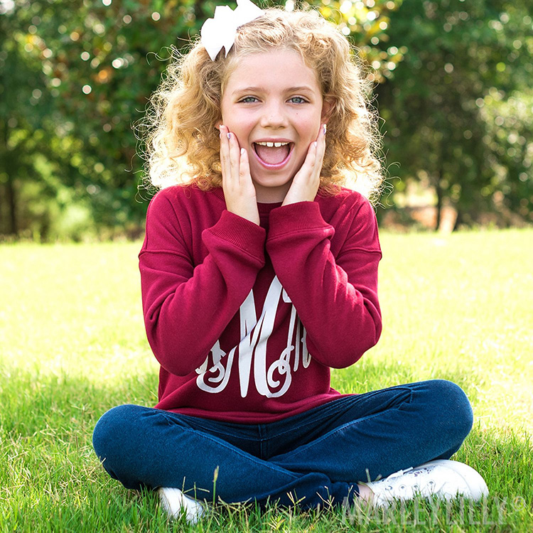 Monogrammed Youth Crewneck Sweatshirt
