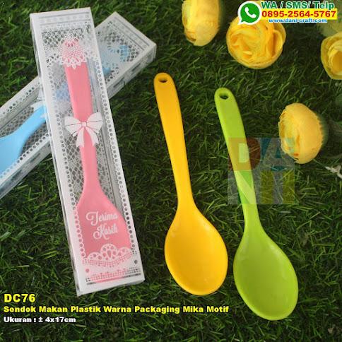Sendok Makan Plastik Warna Packaging Mika Motif