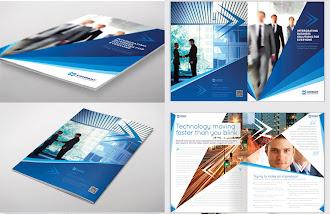 Üzerinde iş adamı resimleri olan teknoloji ve girişimcilik konularında hazırlanmış katalog