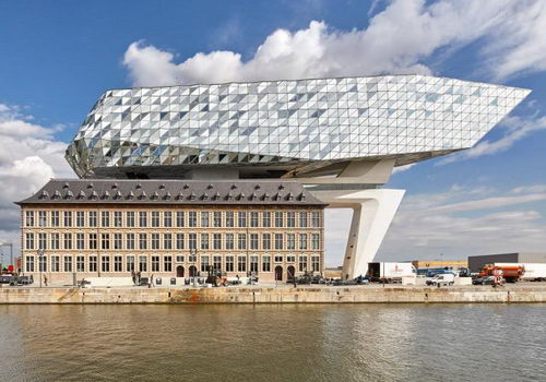 Zaha Hadid Architects put crown new Port House on roof old headquarters Antwerp