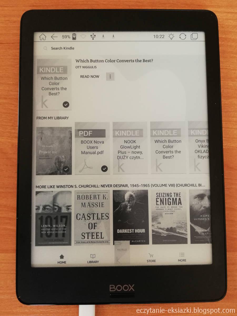Ekran startowy w aplikacji Kindle na czytniku Onyx Boox Nova