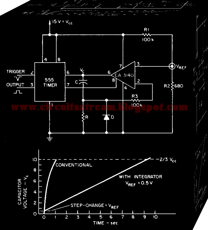 Simple Integrator Multiplies 555 Delay Circuit Diagram