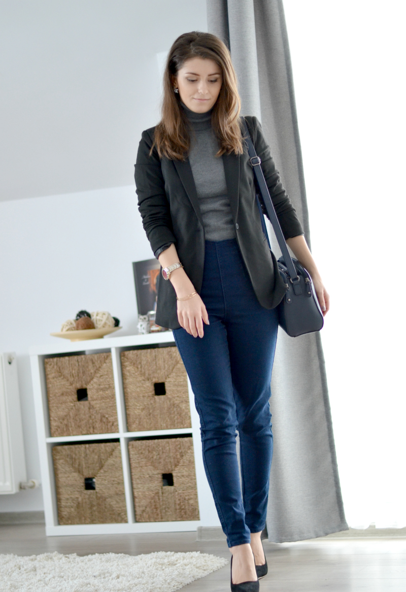 basic office outfit with black blazer style