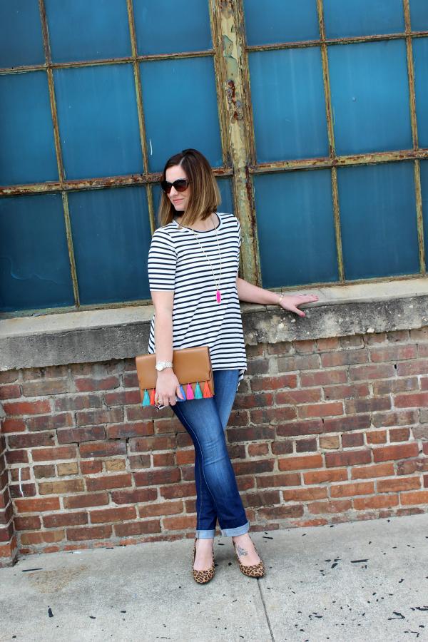 pattern mixing, tassel clutch, leopard heels, spring style