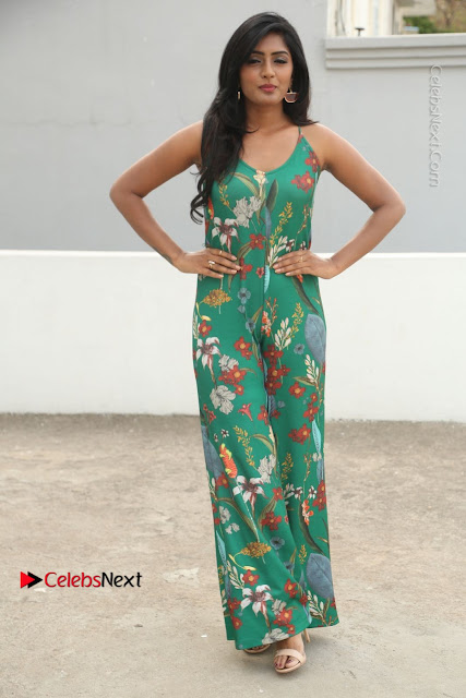 Actress Eesha Latest Pos in Green Floral Jumpsuit at Darshakudu Movie Teaser Launch .COM 0023.JPG