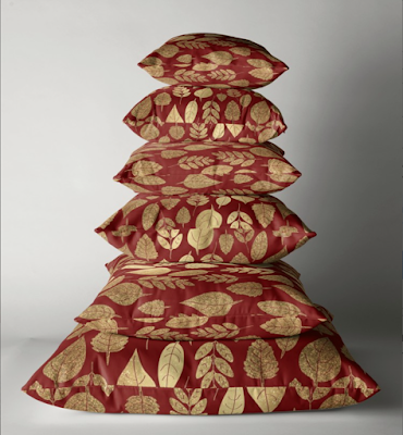 Redbubble Gold and Red Pillow Stack