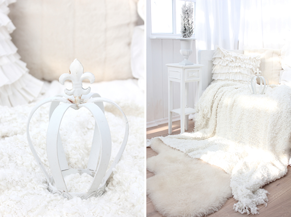 eep! Where do you buy crowns like this?! And.. is that an Ikea ruffly blanket? The ruffle cushions are an easy DIY shabby chic sewing project.