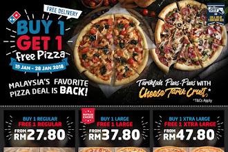 Promosi Domino's Pizza Malaysia beli 1 percuma 1 pizza