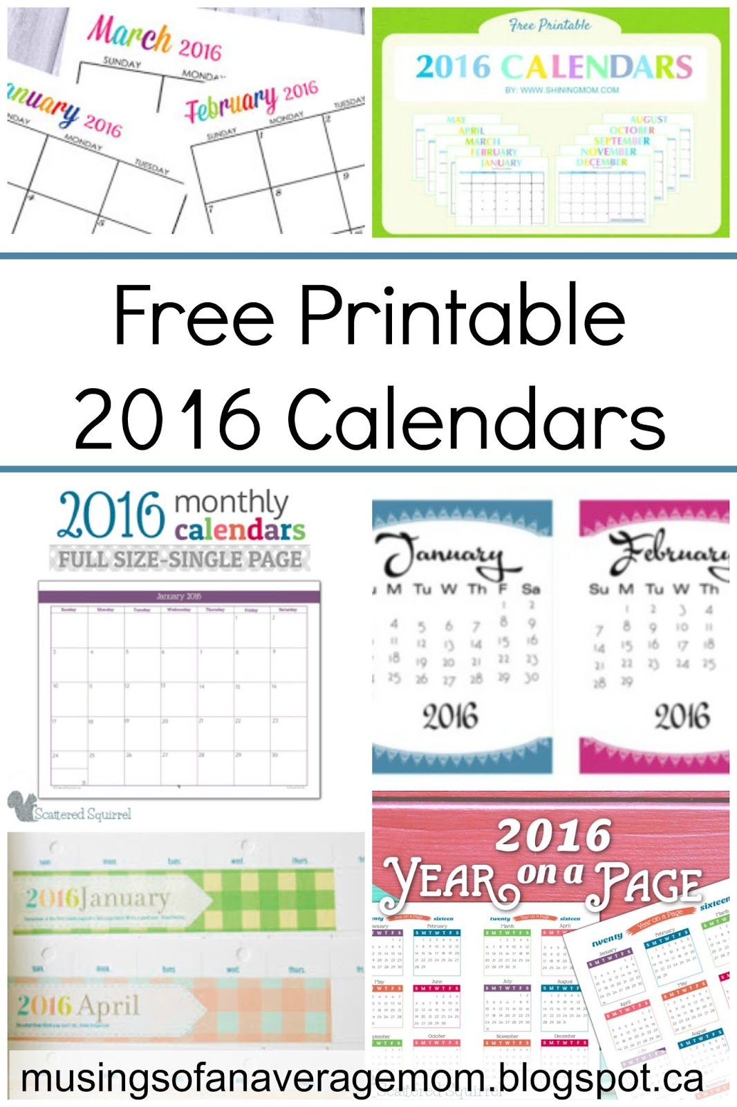 Musings of an Average Mom: Free Printable 2016 Calendar Round-Up