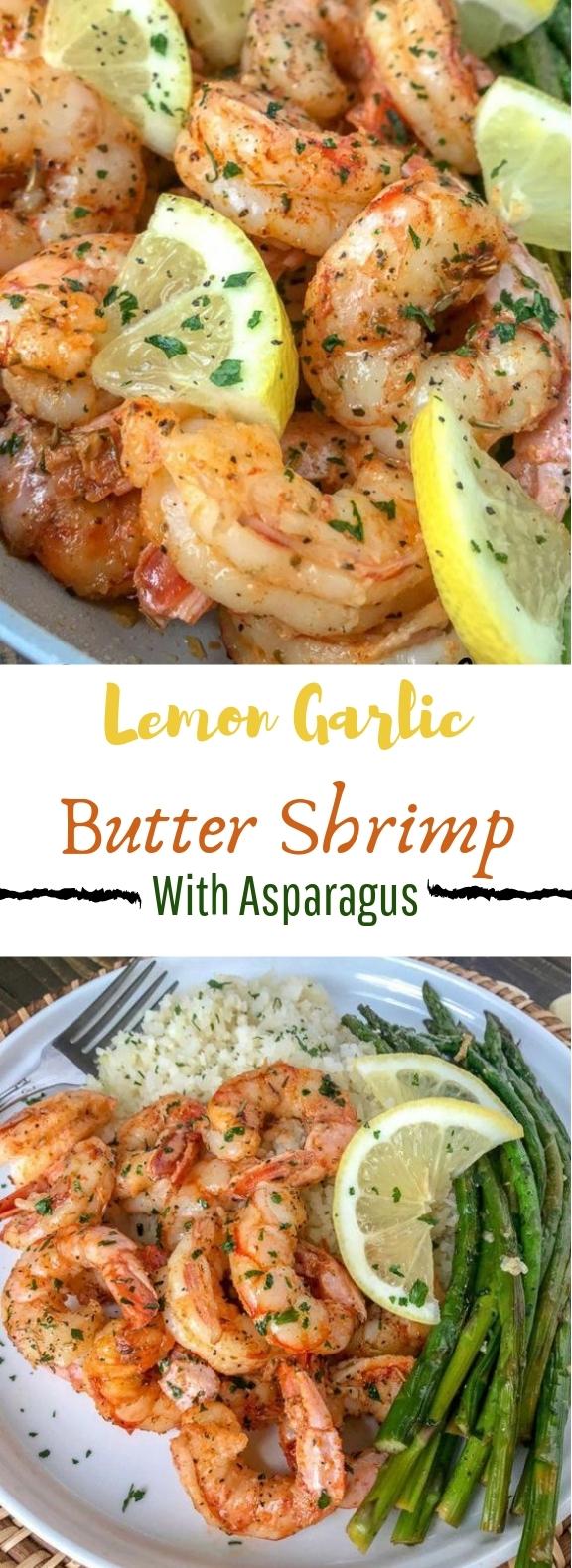 Lemon Garlic Butter Shrimp with Asparagus #easy #dinner