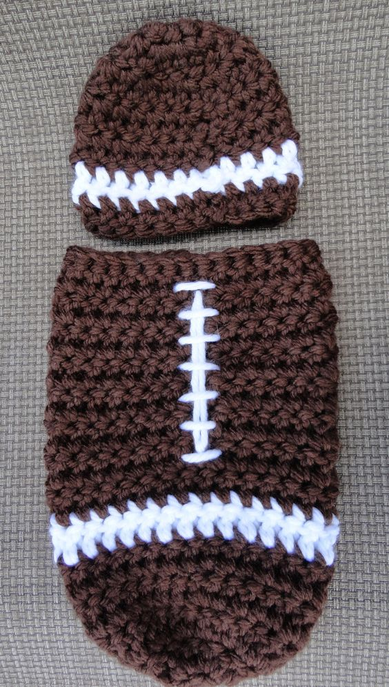 Football Cocoon and Hat Crochet Photography Prop Set