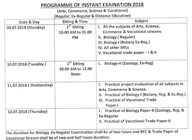 CHSE Odisha 12th Class Instant Examination Time Table July 2018