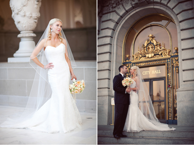 Lavish san francisco city hall nuptials belle the magazine for Wedding dresses san francisco
