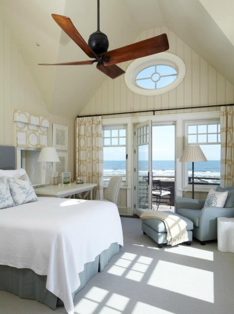 neutral coastal bedroom with ocean view