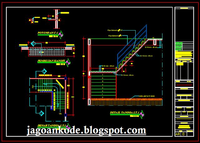 Detail Tangga Gambar Kerja Autocad File Dwg