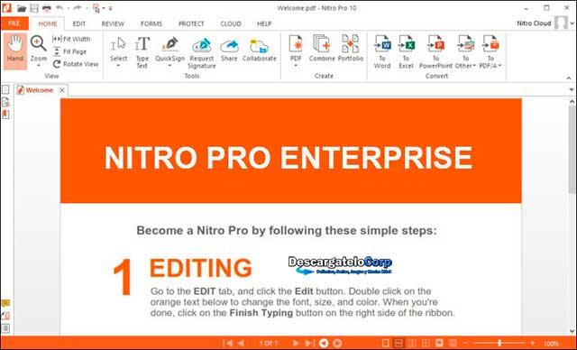 Nitro Pro Enterprise Final, Crear convertir editar y compartir archivos PDF