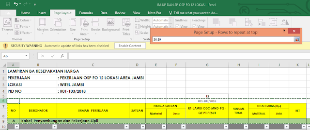 Membuat Baris Excel Berulang Pada Saat Di Print (Print Titles)