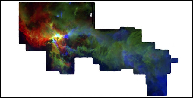 Gas in the Orion A cloud star-forming region. Each of the three colors (red, green and blue) represents a different velocity range. Credit: NSF/S. Kong, J. Feddersen, H. Arce & CARMA-NRO Orion Survey team