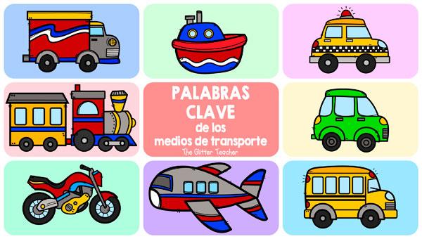Talking flashcards y diccionario de imágenes de los medios de transporte