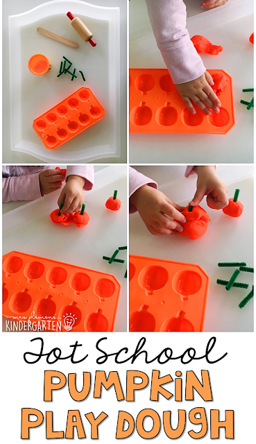 Making play dough pumpkins is a fun way to practice fine motor skills with a Halloween theme. Great for tot school, preschool, or even kindergarten!
