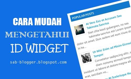 2 Cara Mudah Mengetahui ID Widget Pada Blog